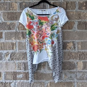 Anthropologie Little Yellow Button Mixed Media Top